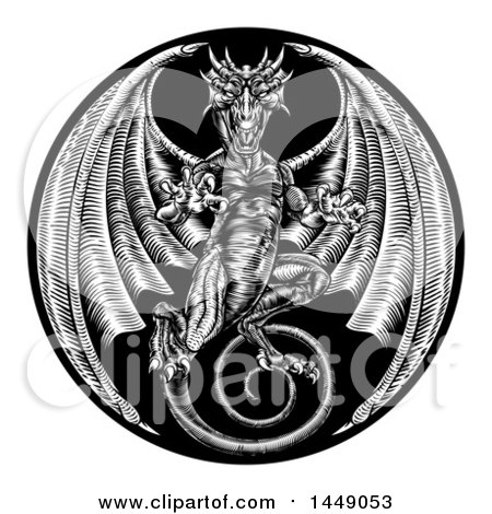 Clipart Graphic of a Black and White Woodcut Dragon in a Circle - Royalty Free Vector Illustration by AtStockIllustration