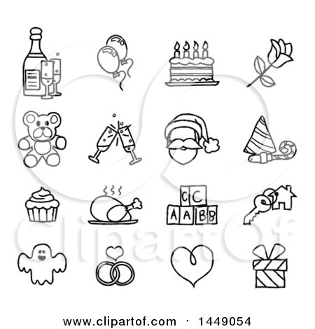 Clipart Graphic of Black and White Sketched Life Event and Holiday Icons - Royalty Free Vector Illustration by AtStockIllustration
