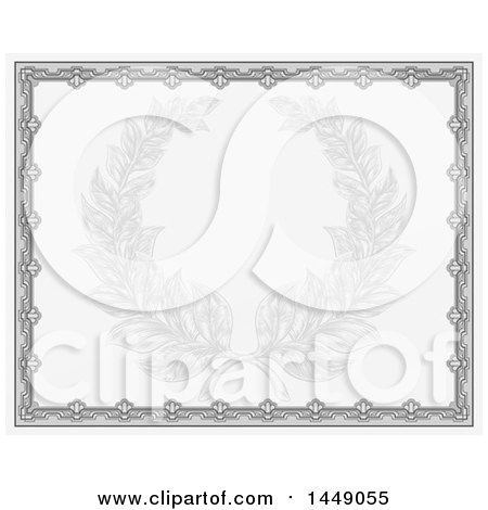 Clipart Graphic of a Faded Engraved Laurel Wreath in a Green Certificate Border - Royalty Free Vector Illustration by AtStockIllustration