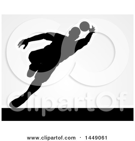 Clipart Graphic of a Black Silhouetted Goal Keeper Soccer Player Blocking the Ball, over Gray - Royalty Free Vector Illustration by AtStockIllustration