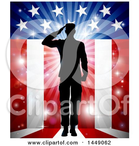 Clipart Graphic of a Silhouetted Full Length Male Military Veteran Saluting over an American Themed Flag and Bursts - Royalty Free Vector Illustration by AtStockIllustration