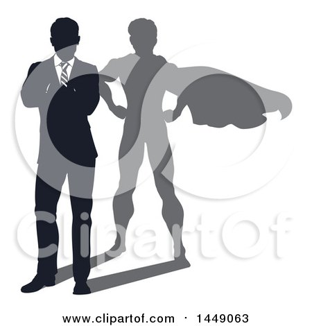 Clipart Graphic of a Silhouetted Business Man Standing with Folded Arms and a Super Hero Shadow - Royalty Free Vector Illustration by AtStockIllustration