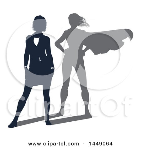 Clipart Graphic of a Silhouetted Business Woman with a Super Hero Shadow - Royalty Free Vector Illustration by AtStockIllustration