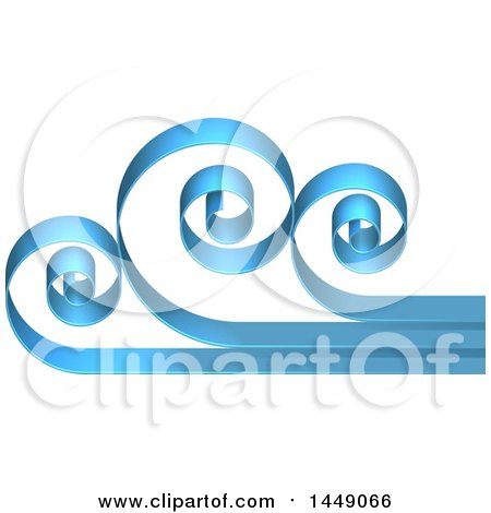 Clipart Graphic of a 3d Blue Swirly Cloud or Ocean Wave Design - Royalty Free Vector Illustration by AtStockIllustration
