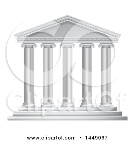 Clipart Graphic of a 3d White Ancient Roman or Greek Temple with Pillars - Royalty Free Vector Illustration by AtStockIllustration