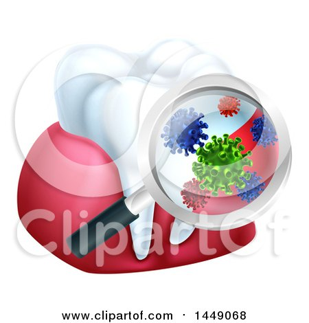 Clipart Graphic of a 3d Magnifying Glass Discovering Germs or Bacteria on a Tooth and Gums - Royalty Free Vector Illustration by AtStockIllustration