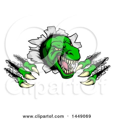 Clipart Graphic of a Cartoon Green Tyrannosaurus Rex Dinosaur Slashing Through a Barrier - Royalty Free Vector Illustration by AtStockIllustration