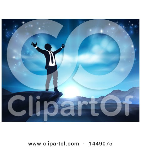 Clipart Graphic of a Silhouetted Business Man in Worship, on a Cliff, Holding His Arms up to a Blue Sky over Mountains - Royalty Free Vector Illustration by AtStockIllustration