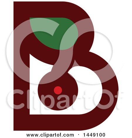 Clipart Graphic of a Retro Flat Styled Berry and Leaf Letter B Design - Royalty Free Vector Illustration by elena