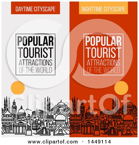 Clipart Graphic of Line Styled City Skyline with World's Most Popular Tourist Locations and Text - Royalty Free Vector Illustration by elena