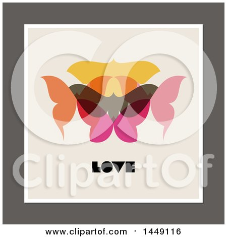 Clipart Graphic of a Retro Styled Moth and Love Design - Royalty Free Vector Illustration by elena
