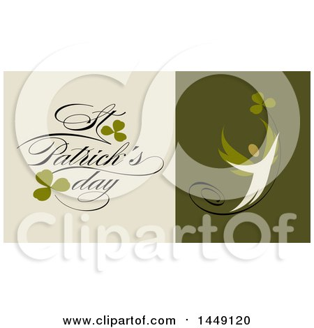 Clipart Graphic of a Retro Styled Person, Clovers and Happy St Patricks Day Text - Royalty Free Vector Illustration by elena