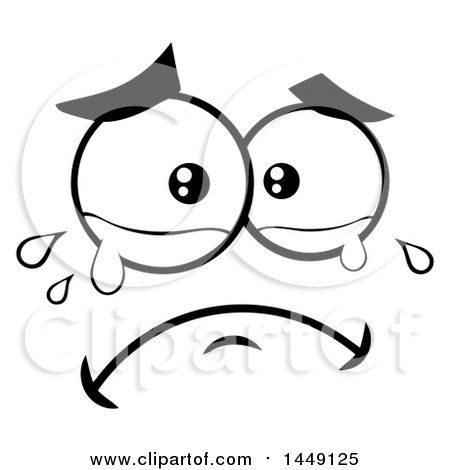 Clipart Graphic of a Black and White Crying Face - Royalty Free Vector Illustration by ...