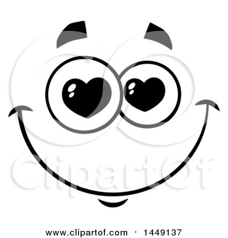 Clipart Graphic of a Black and White Smitten Face with Heart Eyes - Royalty Free Vector Illustration by Hit Toon