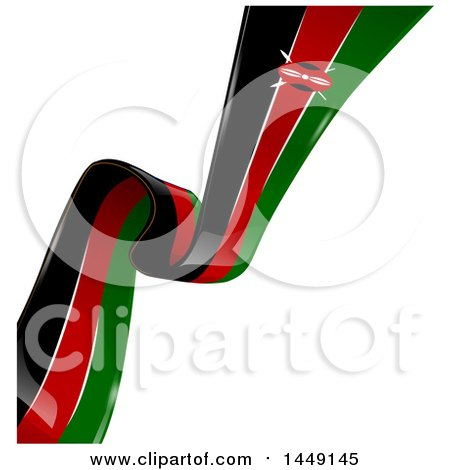 Clipart Graphic of a Diagonal Kenyan Ribbon Flag on White - Royalty Free Vector Illustration by Domenico Condello