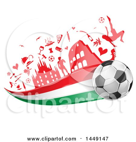Clipart Graphic of a Soccer Ball with an Italian Flag Trail Under Icons - Royalty Free Vector Illustration by Domenico Condello