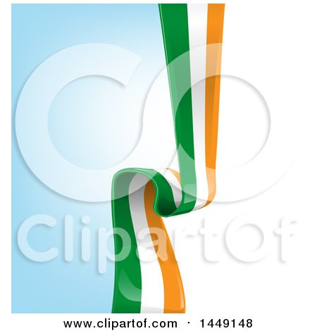 Clipart Graphic of an Irish Ribbon Flag over Gradient - Royalty Free Vector Illustration by Domenico Condello
