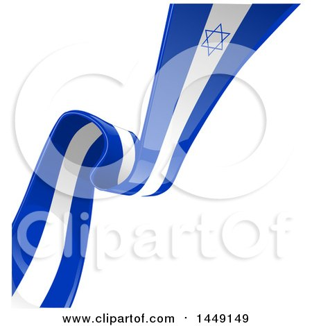 Clipart Graphic of a Blue and White Israel Ribbon Flag Spanning a Background Diagonally - Royalty Free Vector Illustration by Domenico Condello