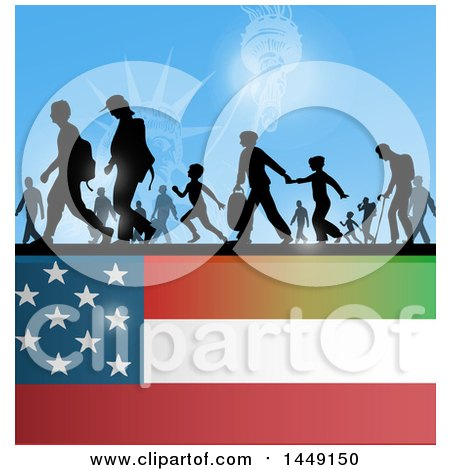 Clipart Graphic of a Crowd of Silhouetted Immigrants over an American Flag - Royalty Free Vector Illustration by Domenico Condello