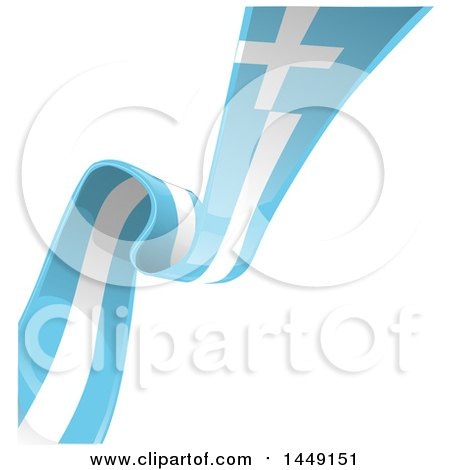 Clipart Graphic of a Diagonal Greek Ribbon Flag on White - Royalty Free Vector Illustration by Domenico Condello