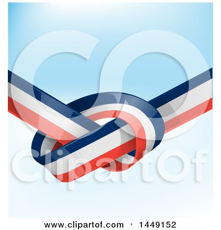 Clipart Graphic of a Knotted French Ribbon Flag over Gradient - Royalty Free Vector Illustration by Domenico Condello