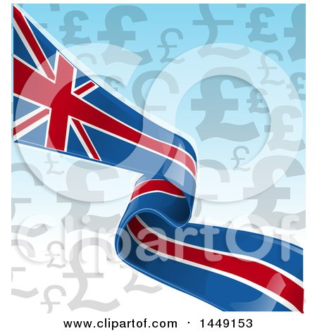 Clipart Graphic of an English Ribbon Flag Brexit over Pound Currency Symbols on Gradient - Royalty Free Vector Illustration by Domenico Condello
