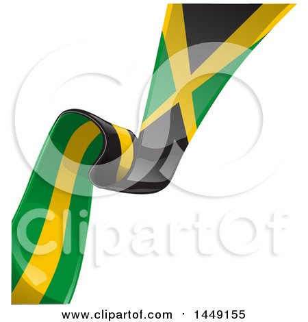 Clipart Graphic of a Green Yellow and Black Jamaican Ribbon Flag Border Between White and Blue - Royalty Free Vector Illustration by Domenico Condello