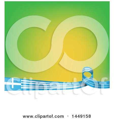 Clipart Graphic of a Greek Ribbon Flag Border Between Green and White - Royalty Free Vector Illustration by Domenico Condello