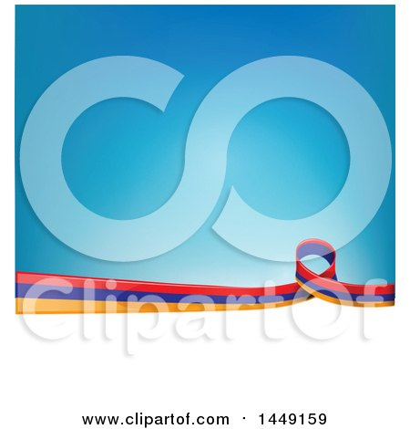 Clipart Graphic of an Armenian Ribbon Flag Border Between White and Blue - Royalty Free Vector Illustration by Domenico Condello