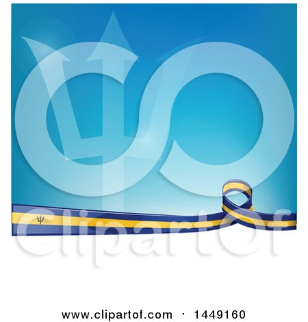 Clipart Graphic of a Barbados Ribbon Flag Border Between White and Blue - Royalty Free Vector Illustration by Domenico Condello