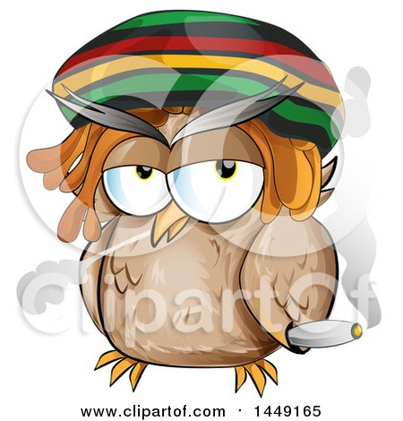 Clipart Graphic Of A Cartoon Rasta Owl Smoking A Doobie Royalty Free Vector Illustration