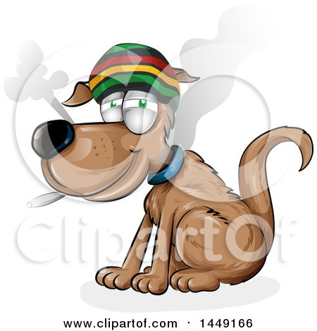 Clipart Graphic of a Cartoon Rasta Dog Smoking a Joint - Royalty Free Vector Illustration by Domenico Condello