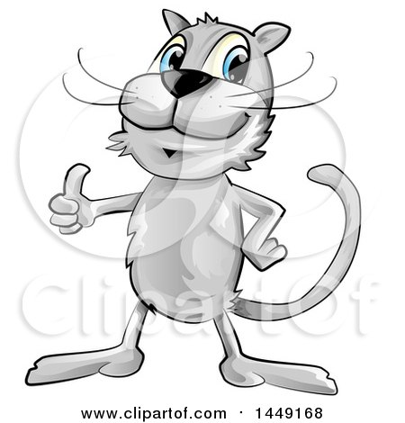Clipart Graphic of a Cartoon Gray Cat Giving a Thumb up - Royalty Free Vector Illustration by Domenico Condello