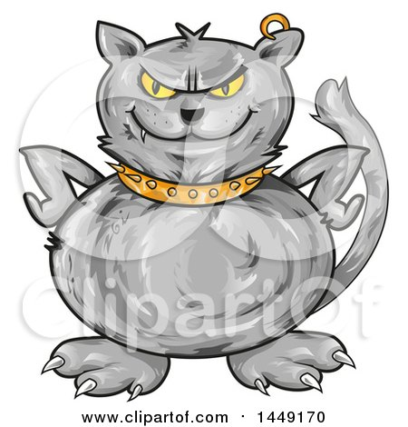 Clipart Graphic of a Cartoon Angry Gray Cat with Hands on His Hips - Royalty Free Vector Illustration by Domenico Condello