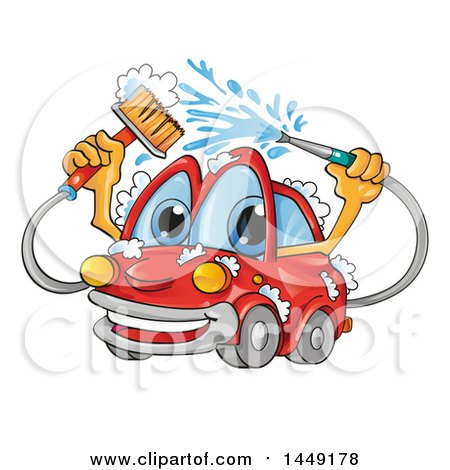 Clipart Graphic of a Cartoon Happy Red Car Mascot Washing Itself - Royalty Free Vector Illustration by Domenico Condello