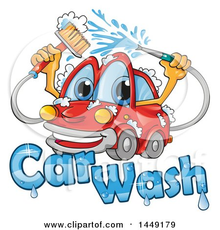 Clipart Graphic of a Cartoon Happy Red Car Mascot Washing Itself over Text - Royalty Free Vector Illustration by Domenico Condello