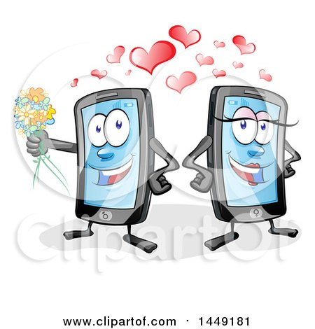 Clipart Graphic of a Cartoon Smart Phone Mascot Couple with Love Hearts - Royalty Free Vector Illustration by Domenico Condello