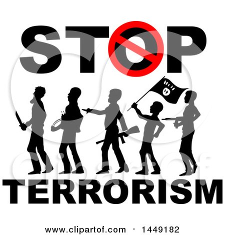 Clipart Graphic of a Stop Terrorism Design with Silhouetted Armed Men - Royalty Free Vector Illustration by Domenico Condello