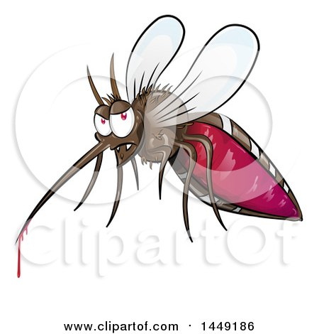 Clipart Graphic of a Cartoon Evil Mosquito with Blood Dripping - Royalty Free Vector Illustration by Domenico Condello