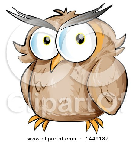 Clipart Graphic of a Cartoon Brown Owl - Royalty Free Vector Illustration by Domenico Condello