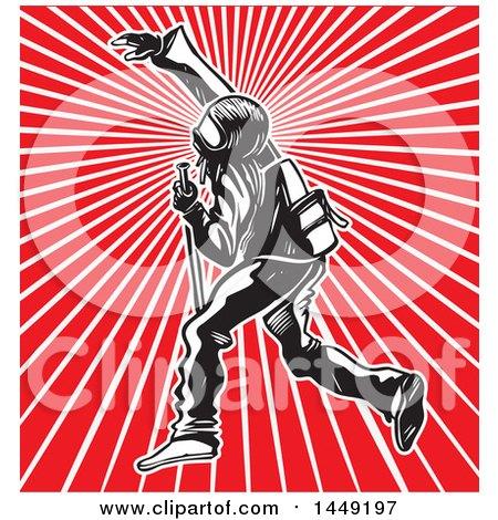 Clipart Graphic of a Black Bloc Protestor over Rays - Royalty Free Vector Illustration by Domenico Condello