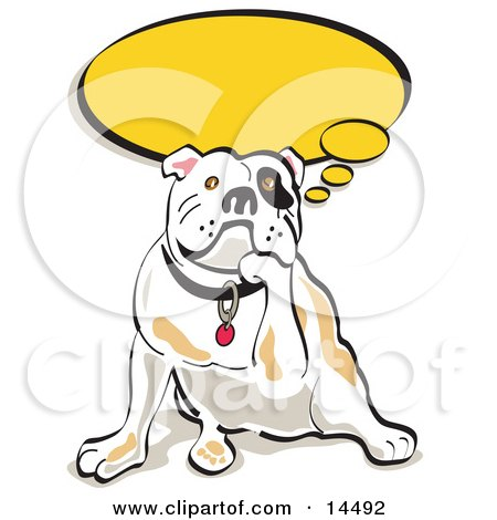 Thoughtful Bulldog Resting His Chin on His Paw Clipart Illustration by Andy Nortnik