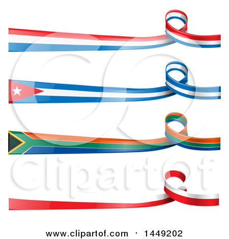Clipart Graphic of French, Polish, South African and Cuban Ribbon Flag Design Elements - Royalty Free Vector Illustration by Domenico Condello