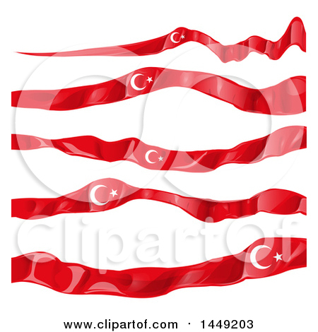Clipart Graphic of Turkish Ribbon Flag Design Elements - Royalty Free Vector Illustration by Domenico Condello