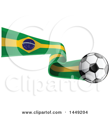 Clipart Graphic of a Soccer Ball and Brazilian Flab Ribbon - Royalty Free Vector Illustration by Domenico Condello