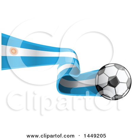 Clipart Graphic of a Soccer Ball and Argentine Flag Ribbon - Royalty Free Vector Illustration by Domenico Condello