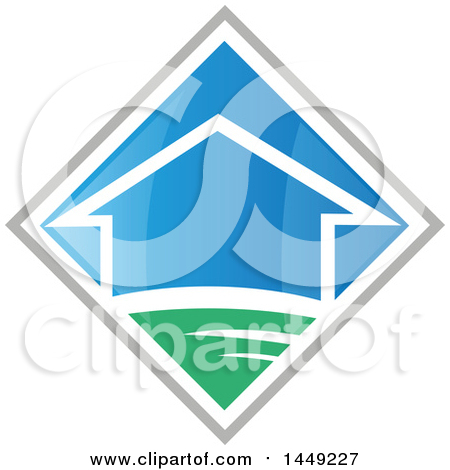 Clipart Graphic of a House in a Blue Green and Gray Diamond - Royalty Free Vector Illustration by Domenico Condello