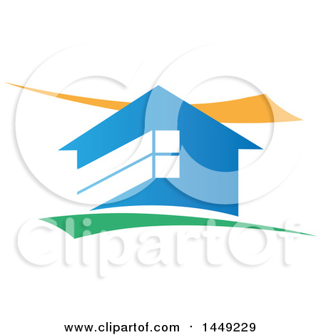 Clipart Graphic of a Blue House with Yellow and Green Swooshes - Royalty Free Vector Illustration by Domenico Condello
