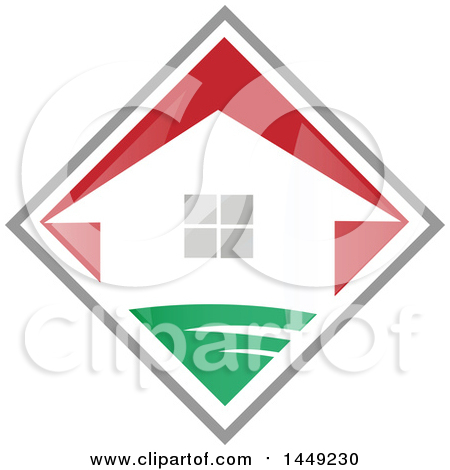Clipart Graphic of a House in a Red Green and Gray Diamond - Royalty Free Vector Illustration by Domenico Condello