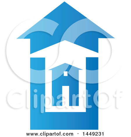 Clipart Graphic of a House in Bigger Blue and White Homes - Royalty Free Vector Illustration by Domenico Condello